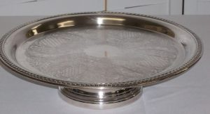 14 Inch Round Silver Cake Stand
